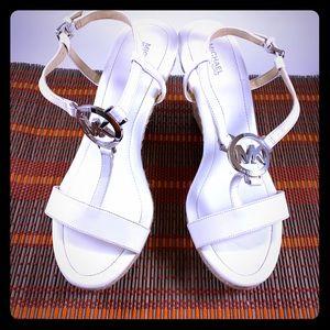 Michael Kors White Wedge Heel Sandal